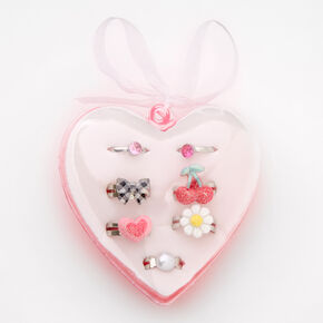 Claire's Club Charm Rings in Pink Heart Box - 7 Pack,