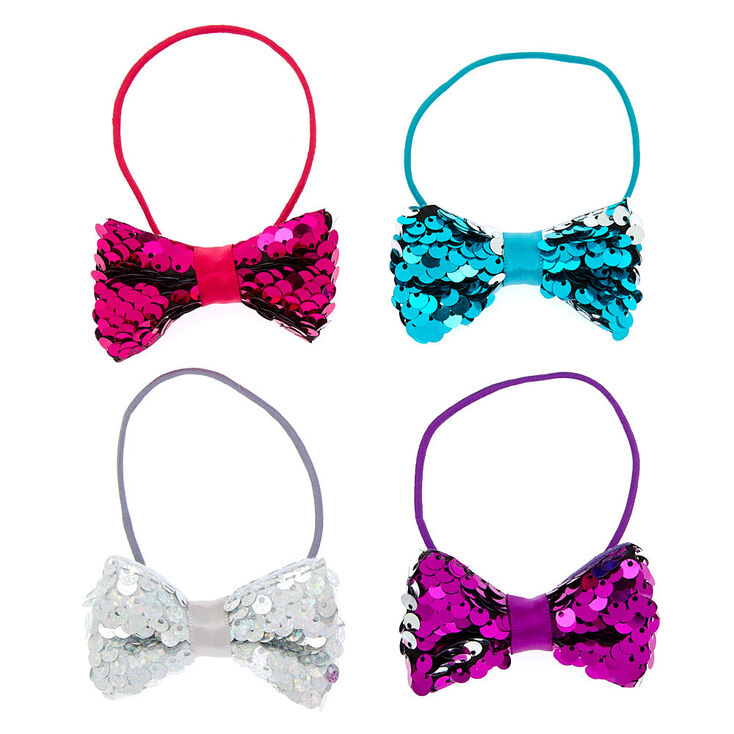 Claire's Club Reversible Sequins Bow Hair Ties - 4 Pack,