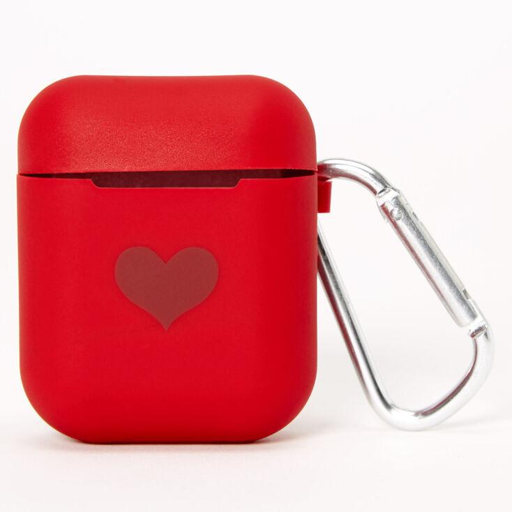 Étui pour écouteurs en silicone cœur rouge - Compatible avec les Airpods® de Apple,