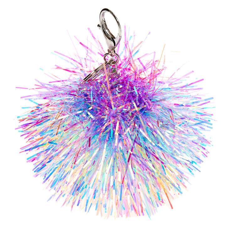 Rainbow Tinsel Pom Pom Keychain,