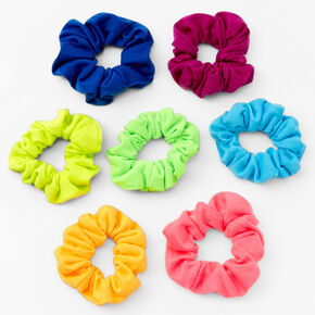 Small Neon Rainbow Hair Scrunchies - 7 Pack,