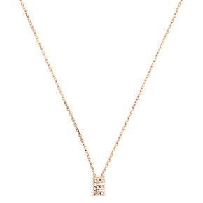 Rose Gold Embellished Initial Pendant Necklace - E,