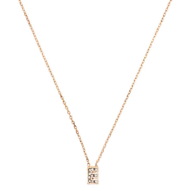 Rose Gold Embellished Initial Pendant Necklace - E,
