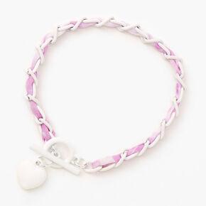 Tie-Dye Braided Heart Charm Bracelet,
