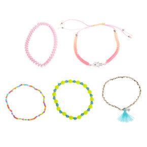 Rainbow Hamsa Hand Bracelets - 5 Pack,