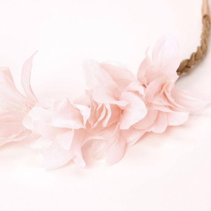 Bandeau tressé avec pétales de fleurs - Rose tendre,