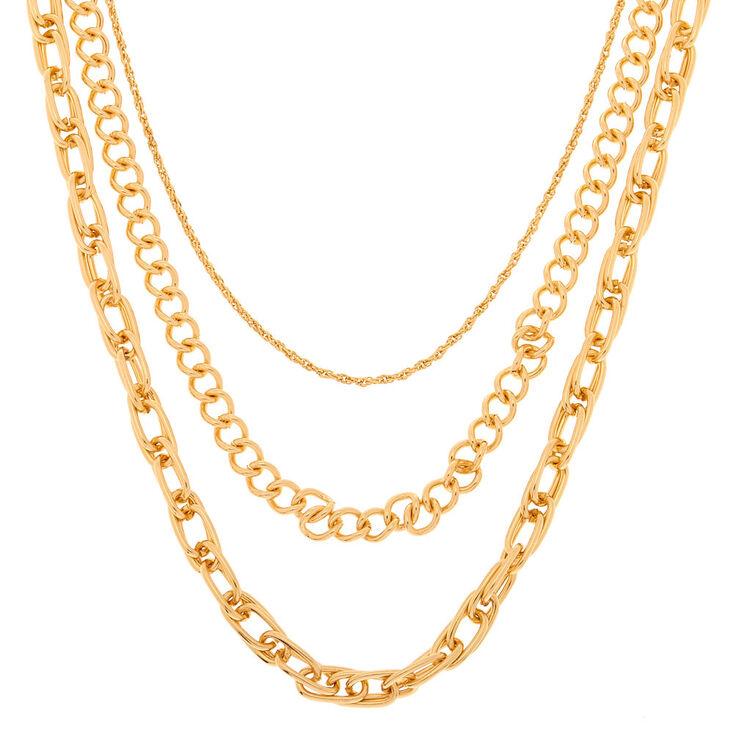 Gold Chain Multi Strand Necklace,