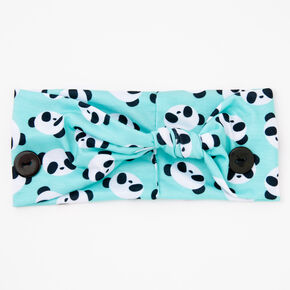 Claire's Club Panda Print Button Headwrap - Mint,
