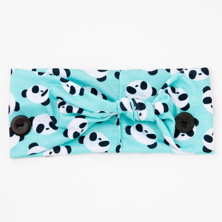 Claire's Club Panda Print Button Headwrap - Mint,