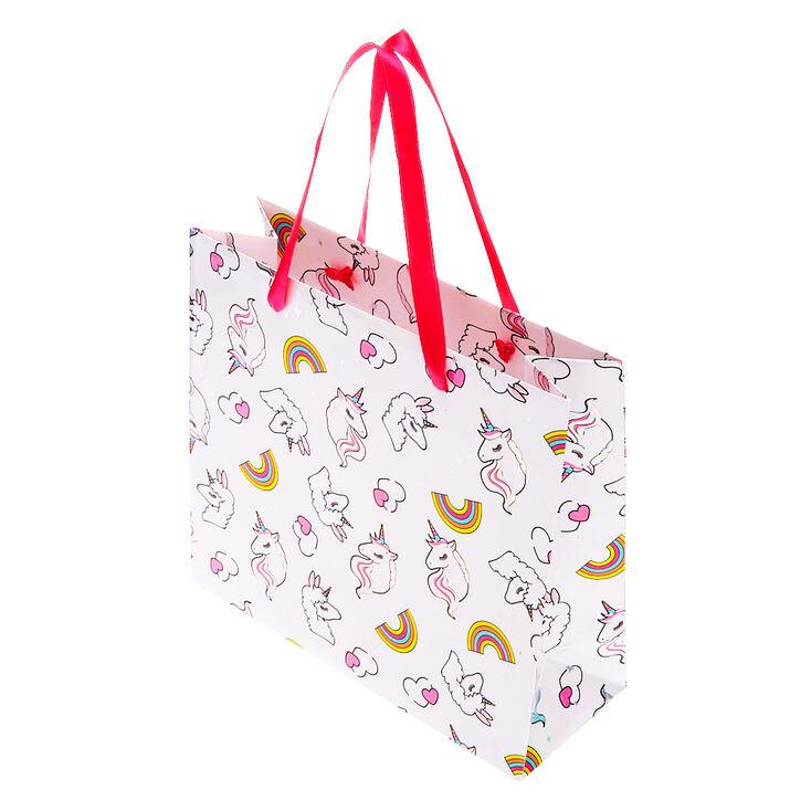Medium Miss Glitter the Unicorn Gift Bag - White,