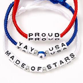 USA Phrases Friendship Bracelets - 3 Pack,