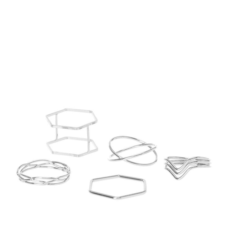 Silver Mixed Geometric Rings - 5 Pack,