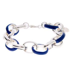 Silver Enamel Link Chain Bracelet - Blue,