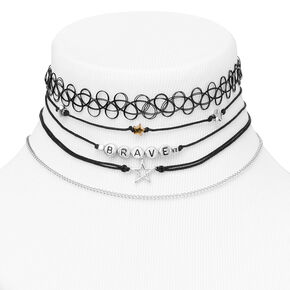 Silver Brave Star Mixed Choker Necklaces - Black, 5 Pack,