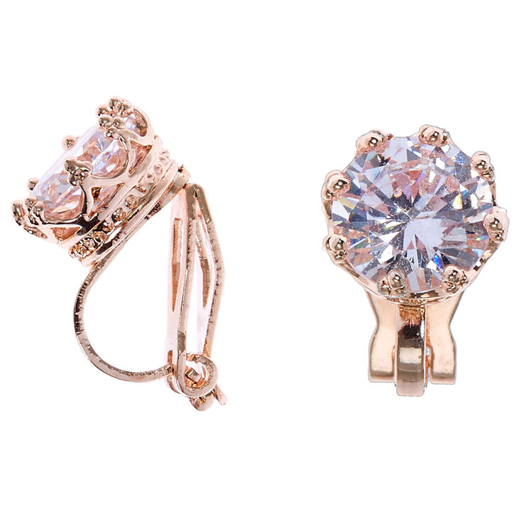 Rose Gold Cubic Zirconia Round Clip On Stud Earrings - 8MM,