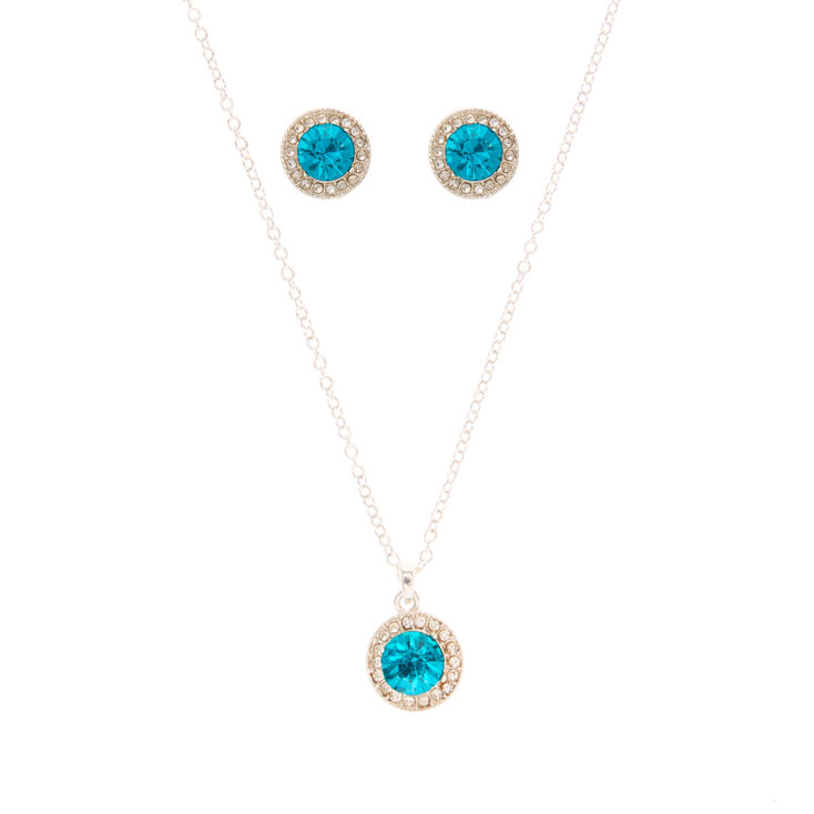 Silver Pendant and Earrings Set with Blue Stone for Pierced Ears