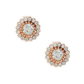 Rose Gold Tone Crystal Glitz Clip on Stud Earrings,