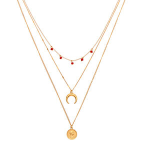 Gold Western Coin Multi Strand Necklace,