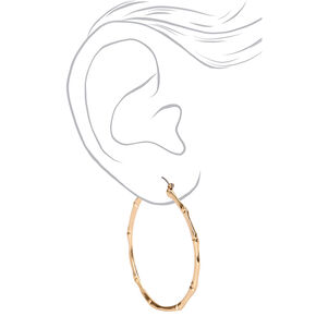 Gold 60MM Thin Bamboo Hoop Earrings,