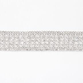Silver Rhinestone Alligator Choker Necklace,