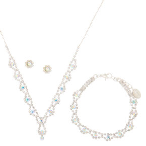Silver Iridescent Scalloped Jewelry Set,