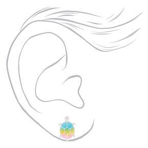 Pastel Rainbow Turtle Stud Earrings,