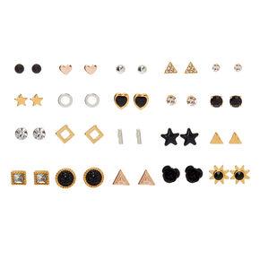 Mixed Metal Black & Gold Stud Earrings - 20 Pack,