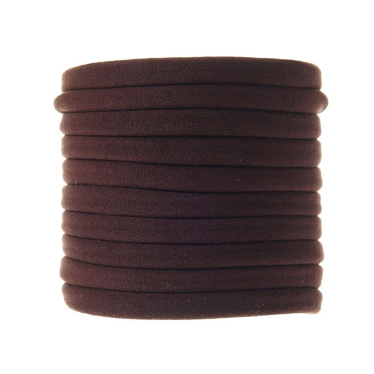 Lot de 10 élastiques à cheveux marron,