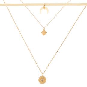 b9d9ffeb79e69 Colliers ras-de-cou multi-rangs avec pendentif corne couleur doré