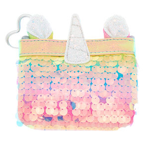 Rainbow Holographic Sequin Unicorn Zip Coin Purse,