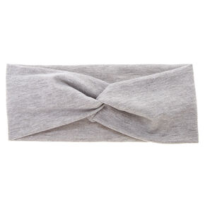 Wide Jersey Twisted Headwrap - Grey,