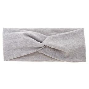 Wide Jersey Twisted Headwrap - Gray,