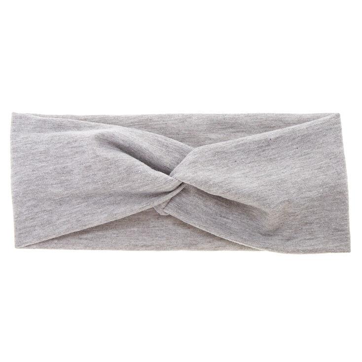 Wide Jersey Twisted Headwrap - Grey,