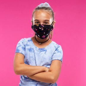 Cotton Black Rainbow Bow Print Face Mask - Child Medium/Large,