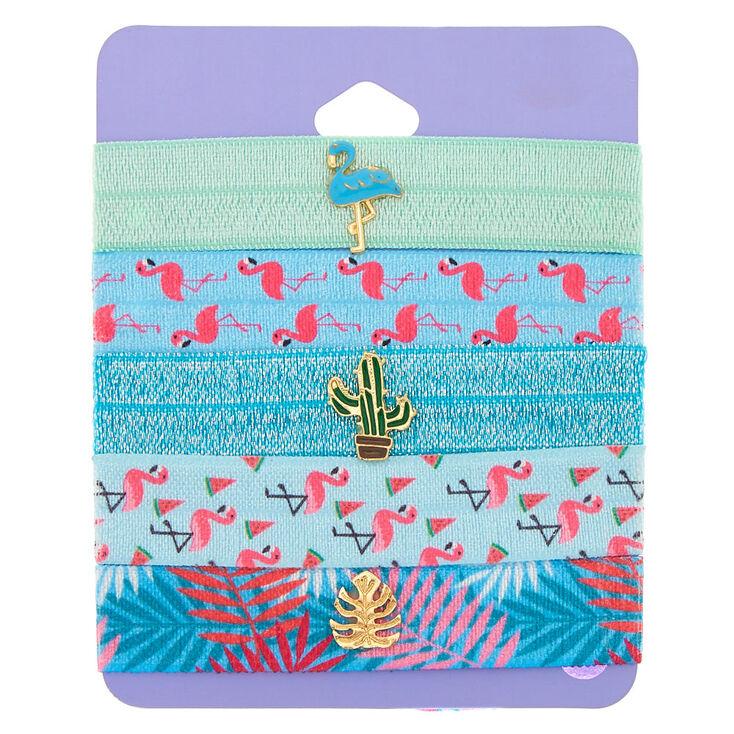 Tropical Ribbon Stretch Bracelets - Blue, 5 Pack,