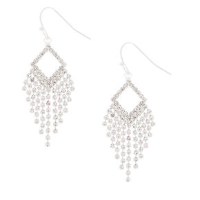 "Silver Rhinestone 1.5"" Fringe Drop Earrings,"