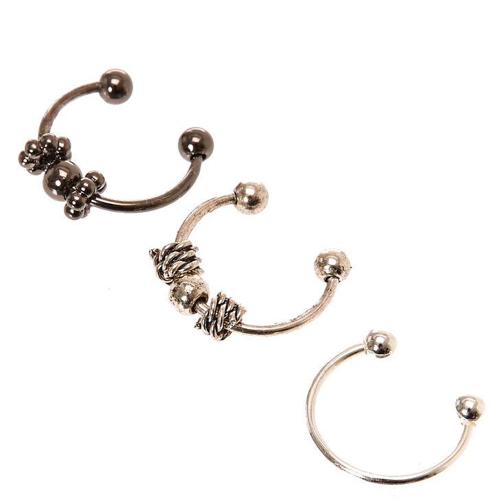 Faux Beaded Nose Hoop Rings Pack 2,