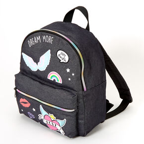 Denim Patches Medium Backpack - Black,