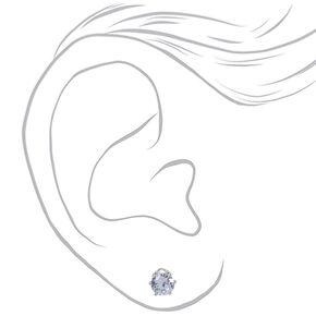 Silver Cubic Zirconia Round Stud Earrings - 5MM, 6MM, 7MM,
