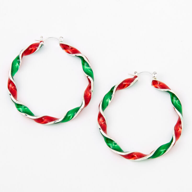 Red & Green Twisted Candy Cane Hoop Earrings,