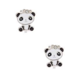 Cute Panda Clip On Earrings White