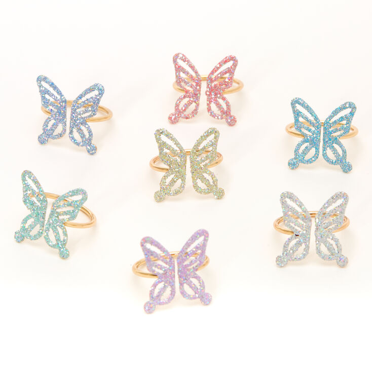 Claire's Club Pastel Glitter Butterfly Rings - 7 Pack,