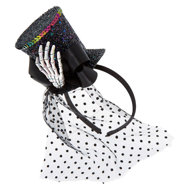 Skeleton Sequin Top Hat Headband - Black,