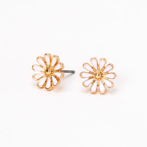 Gold Daisy Flower Stud Earrings - White,