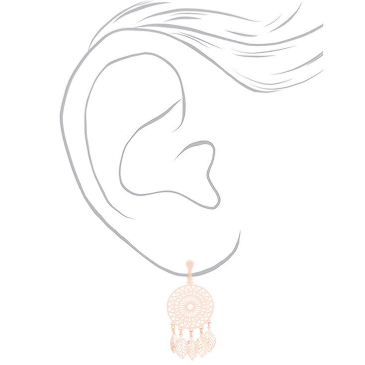 "Rose Gold 1"" Dream Catcher Clip On Drop Earrings,"