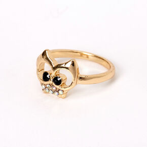 Gold Iridescent Stone Owl Ring,