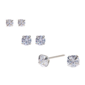 2d159eb84ef1b0 Silver Cubic Zirconia Graduated Round Stud Earrings - 3 Pack