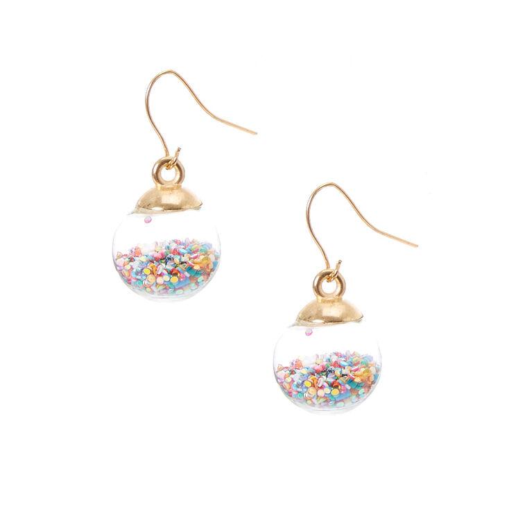 Rainbow Confetti Shaker Drop Earrings