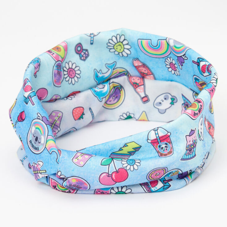 Soda Pop & Rainbows Twisted Headwrap - Blue,
