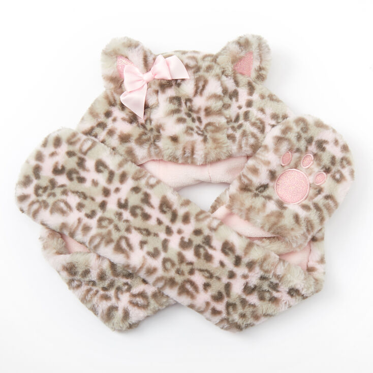 Claire's Club Leopard Hooded Scarf - Pink,